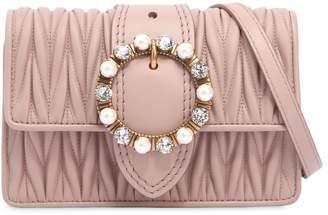 Miu Miu Quilted Shoulder Bag W/ Jewel Buckle