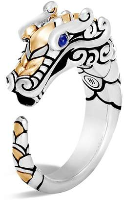 John Hardy 18K Gold and Sterling Silver Legends Naga Ring with Sapphire