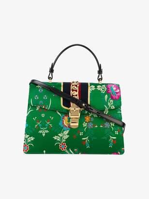 Gucci Green Floral Sylvie Satin Tote Bag