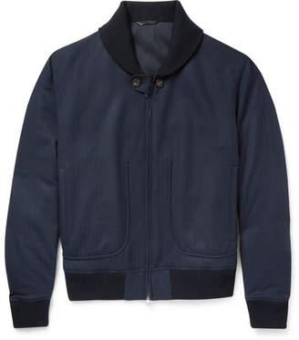 Brioni Herringbone Wool Bomber Jacket