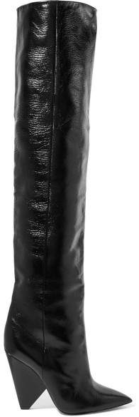 Saint Laurent - Niki Glossed-leather Knee Boots - Black