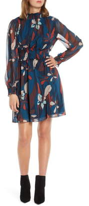 Forest Lily Floral Long Sleeve Chiffon Dress