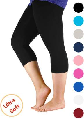Century Star Woman Summer Comfort Plus Size Elastic Waist Cotton Capri Leggings