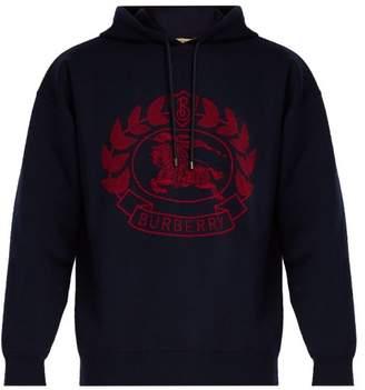 Burberry Logo Intarsia Hooded Wool Blend Sweatshirt - Mens - Navy