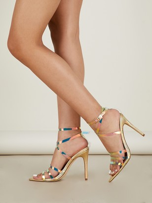 e583d3a764f Shein Iridescent Clear Strappy Metallic Heeled Sandals