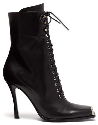 Calvin Klein Windora Lace Up Leather Boots - Womens - Black