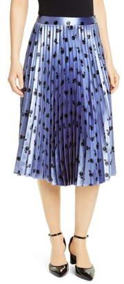 HVN Tracy Fruit Print Pleated Skirt