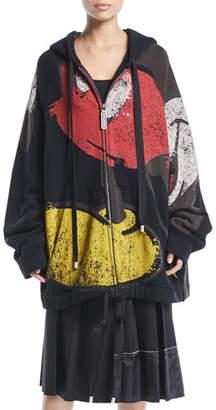 Marc Jacobs Mickey-Print Zip-Front Oversized Hooded Sweatshirt