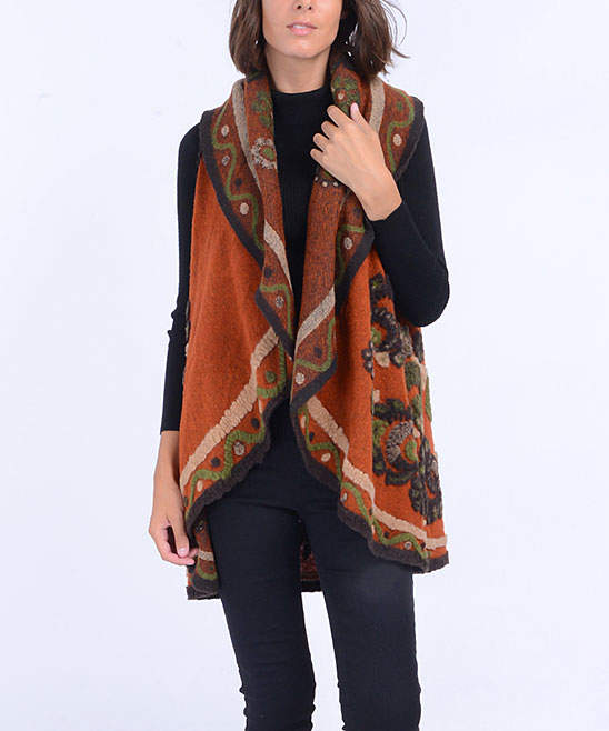 Rust Embroidered Abstract Wool-Blend Vest - Women
