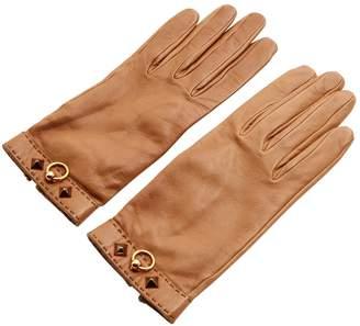 Hermes Brown Leather Gloves