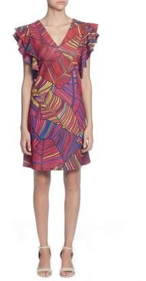 Catherine Malandrino Sandrine Colorful Palm Print Dress