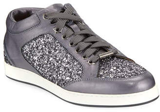 Jimmy Choo Miami Leather and Star Glitter Sneakers, Pewter