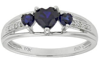 JCPenney FINE JEWELRY Lab-Created Sapphire & Diamond-Accent Heart-Shaped 3-Stone 10K White Gold Ring