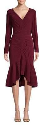 Tadashi Shoji Pleated V-Neck Sheath Dress