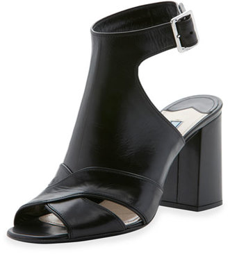 Prada Leather Cutout Ankle-Strap Sandal, Nero $790 thestylecure.com
