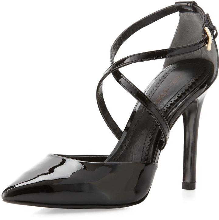 Pour La Victoire Cheyenne Crisscross Pointed-Toe Pump, Black
