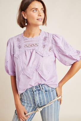 Anthropologie Aderyn Puff-Sleeved Lace Blouse