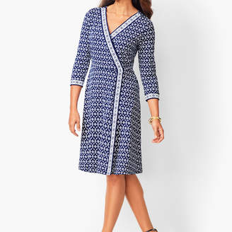 Talbots Knit Jersey Faux-Wrap Dress - Geo Print