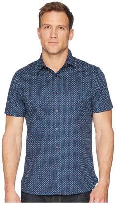 Perry Ellis Slim Stretch Mini Floral Dot Shirt Men's Short Sleeve Button Up