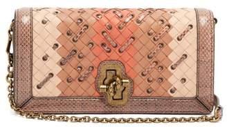 Bottega Veneta Olimpia Knot Intrecciato Leather Clutch - Womens - Pink Multi