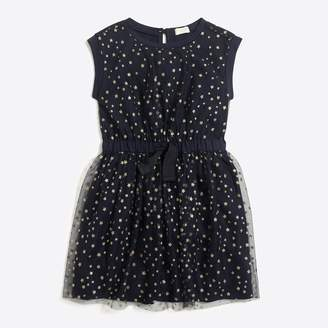 J.Crew Factory Girls' short-sleeve sparkle star tulle dress