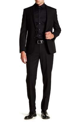 Calvin Klein Solid Black Slim Fit Two Button Notch Lapel Wool Suit