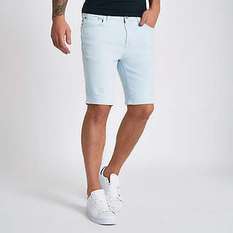River Island Light blue skinny ripped denim shorts