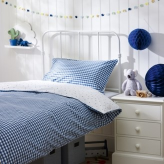 The White Company Reversible Gingham Bed Linen Set, Blue, Cot Bed