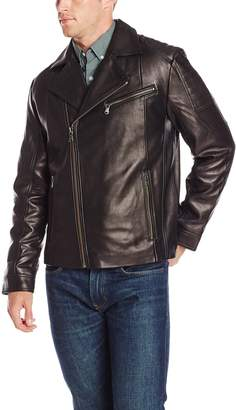 Ungaro Emanuel by Men's Lambskin Leather Asymmetrical Moto Jacket