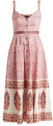 Saloni Fara Printed Cotton Blend Dress - Womens - Pink Multi