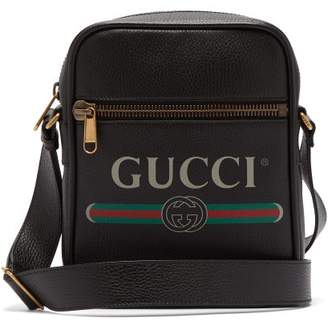 Gucci Logo Print Grained Leather Camera Bag - Mens - Black