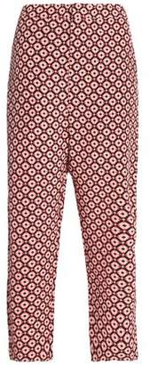 Marni Cropped Printed Silk Straight-Leg Pants