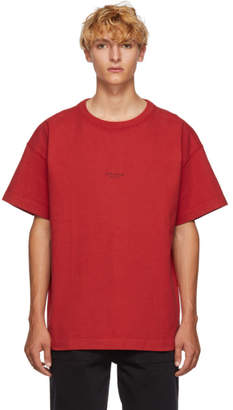 Acne Studios Red Distressed Logo T-Shirt