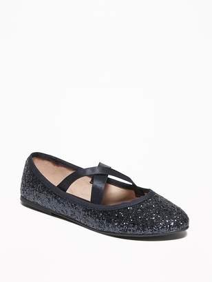Old Navy Glitter Elastic-Strap Ballet Flats for Girls