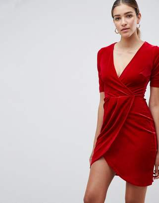 Club L Velvet Wrap Front Dress