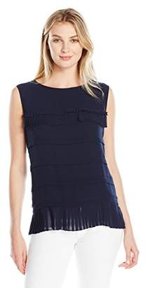 Lark & Ro Women's Sleeveless Tiered Blouse with Ruffle Trim