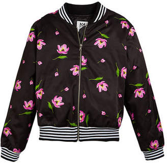 Milly Minis Floral-Print Bomber Jacket, Size 7-16