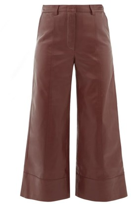 Dodo Bar Or Magen Leather Wide Leg Trousers - Womens - Burgundy