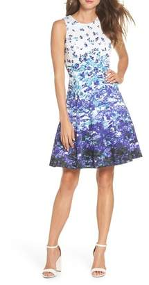Maggy London Floral Sateen Fit & Flare Dress