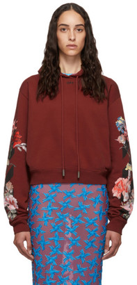 Off-White Off White Red Cropped Flowers Hoodie