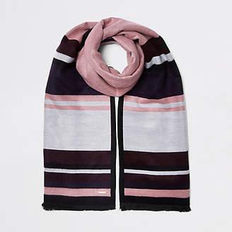 River Island Dark pink stripe double sided scarf