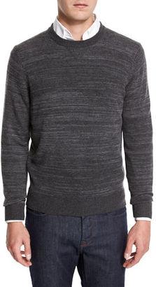 Neiman Marcus Cashmere-Cotton Athletic Crewneck Sweater $195 thestylecure.com