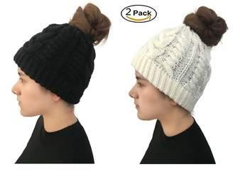 8ab7c768 Jiuhexu Womens Ponytail Cap Warm and Soft Beanie Knitted Hat Messy High Bun  Ponytail Beanie Hat