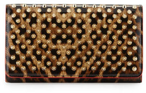 Christian Louboutin  Christian Louboutin Macaron Spiked Patent Wallet, Leopard/Brown/Golden
