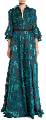 Badgley Mischka Floral Fil-Coupé Shirtwaist Gown w/ Belted Waist