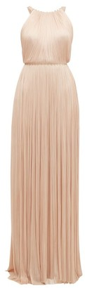 Maria Lucia Hohan Jayla Silk Tulle Crystal Embellished Maxi Dress - Womens - Light Pink