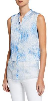 Elie Tahari Felicity Tie-Dye Button-Down Sleeveless Blouse