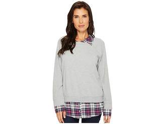 Mod-o-doc Sweatshirt with Plaid Contrast Women's Sweatshirt