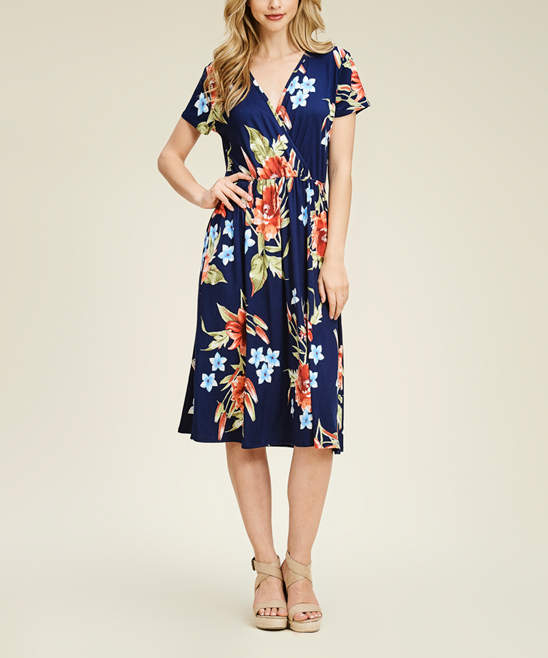Navy & Pink Floral Wrap Midi Dress - Women