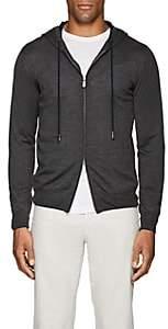 Eleventy Men's Wool-Silk Zip-Front Hoodie - Charcoal